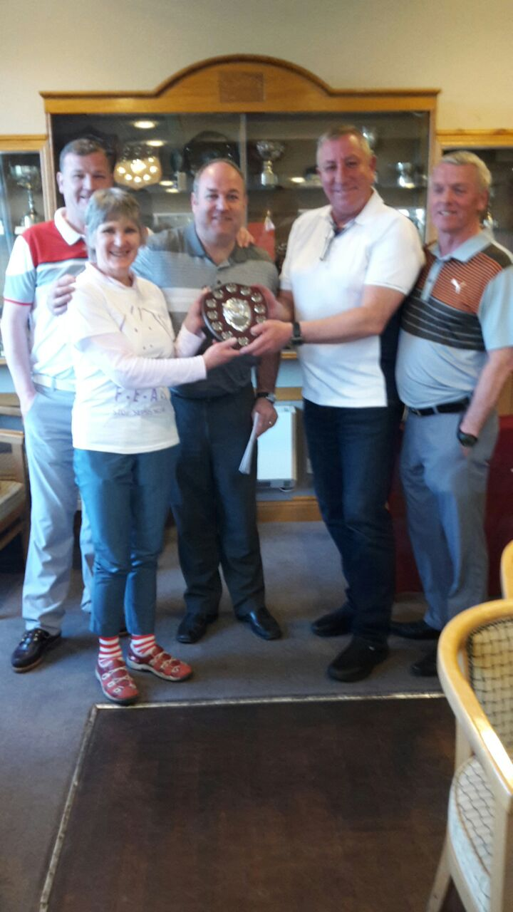 Winning Gents Team being presented with Charity Shield by Lady Captain Shiona Scott